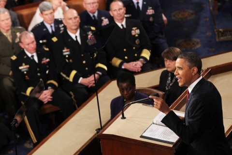 The Joint Chiefs look on as President Obama delivers the State of the Union address on Jan. 24.