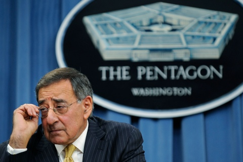 Panetta takes questions during a news conference at the Pentagon in Washington