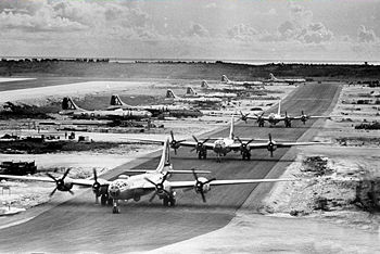 B-29s from the 462nd Bomb Group prepare to take off from Tinian atoll's West Field on a bombing raid over Japan in 1945.