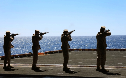 24th Marine Expeditionary Unit honors fallen Marines while at sea