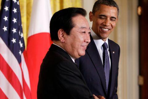 President Barack Obama greets Japan Prime Minister Yoshihiko Noda at White House last month. Reuters