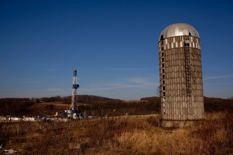 A natural gas well is drilled in a rural field near Canton in Bradford County, Pennsylvania