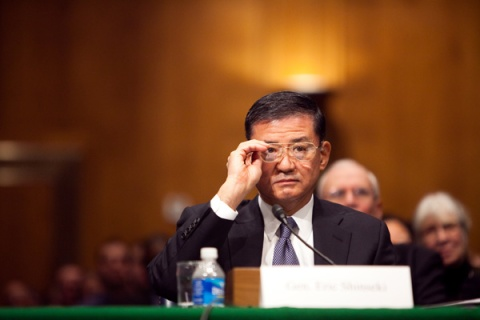 Gen. Eric Shinseki testifies during his confirmation hearing to head the Department of Veterans Affairs on January 14, 2009.