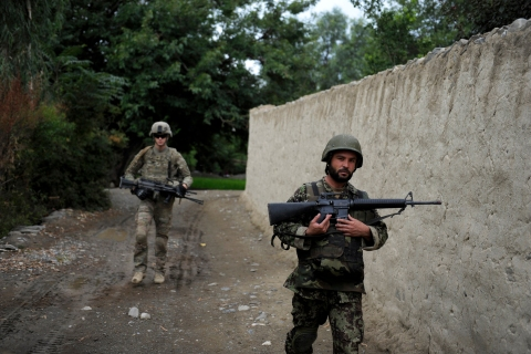 An Afghan National Army soldier patrols