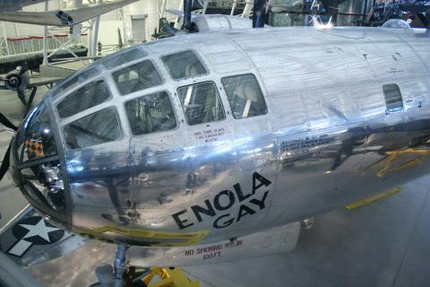 The cockpit area of the restored Enola G