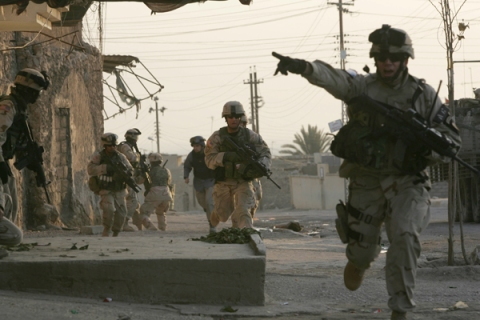 U.S. Troops And Iraqi Police Fight Gunbattle In Tal Afar, Iraq on January 16, 2005.