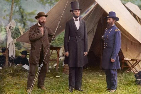 Allan Pinkerton, President Lincoln, and Maj. Gen. John A. McClernand at Antietam, on 1862.