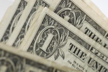 Closeup of one dollar bills