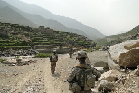 U.S. troops patrol northern Kunar Province, about six months after the Oct. 3, 2009 battle at Combat Outpost Keating.
