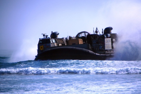 Marines, sailors conduct amphibious training with LCACs