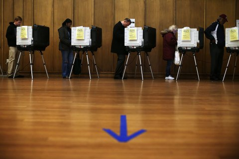 image: Voters cast their ballots as they participate in early voting at the Silver Spring Civic Building in Silver Spring, Md., Nov. 2, 2012.