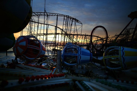 Amusement rides on the Fun Town pier remain scattered and damaged by Superstorm Sandy, on Nov. 24, 2012 in Seaside Heights, N.J.