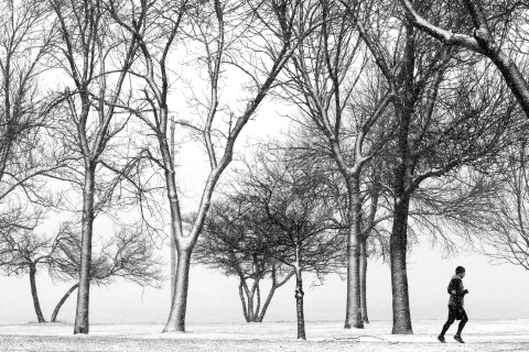 Image: A lone runner navigates the bike path through a snow storm at Chicago's North Ave. beach on Dec. 27, 2012.