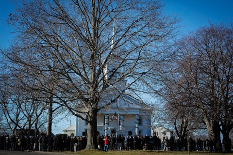 image: Mourners attend the funeral service of Sandy Hook Elementary School shooting victim and teacher Victoria Soto, outside Lordship Community Church, in Stratford, Conn., Dec. 19, 2012.