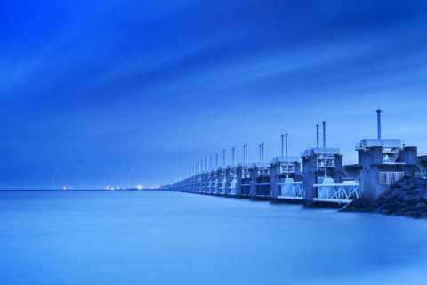 The Eastern Scheldt storm surge barrier in the Netherlands, part of the country's vast sea wall