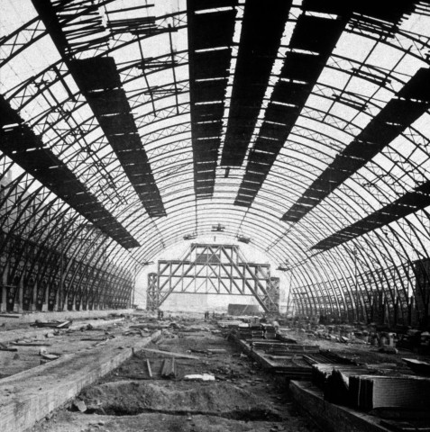 The interior view of Grand Central Depot under construction in New York City, 1871.