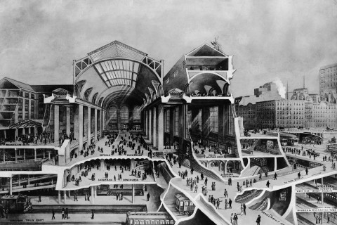 An artist's rendering of the train levels at Grand Central Station, circa 1920.