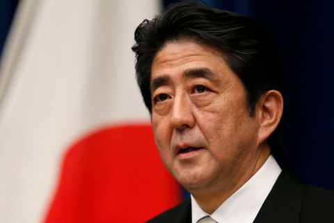 Japan's new Prime Minister Shinzo Abe attends a news conference at his official residence in Tokyo