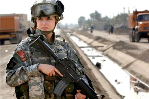 U.S. soldier Pfc. Janelle Zalkovsky, from civil affairs unit of 1st Battalion, 320th Field Artillery..