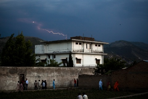 Lightning strikes in the distance beyond the compound where Osama Bin Laden was killed in an operation by U.S. Navy Seals, on May 4, 2011, in Abottabad, Pakistan.
