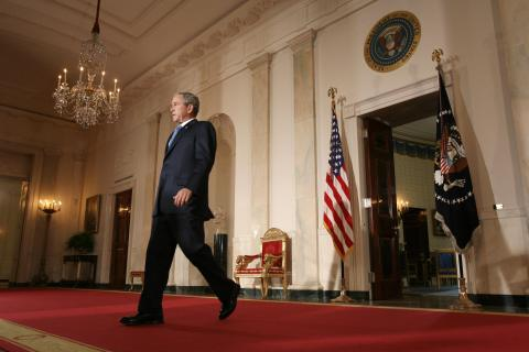 US President George W. Bush arrives to s