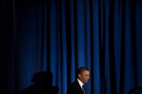 President Obama arrives to speak in Washington.