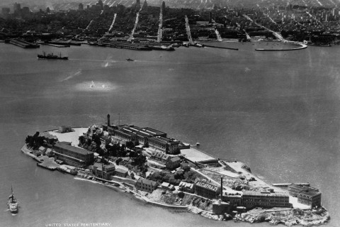 View of Federal Penitentiary at Alcatraz Island With Surrounding Water, circa 1950's.