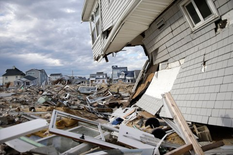 Homes destroyed last October by Superstorm Sandy are seen Thursday, April 25, 2013, at Ortley Beach, in Toms River, N.J.