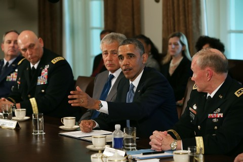 U.S. President Barack Obama met with Defense Secretary Chuck Hagel. U.S. Army Chief of Staff Gen. Raymond Odienaro, Air Force Chief of Staff Gen. Mark Welsh and Chairman of the Joint Chiefs of Staff Gen. Martin Dempsey at the White House in Washington D.C., on May 16, 2013.