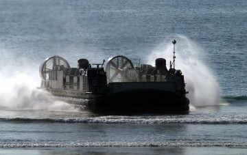 US Navy Uses LCAC Hover Craft to Land Marines and Equipment