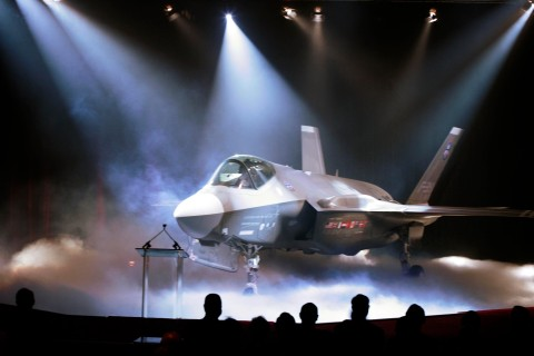 The F-35 Lightning II Joint Strike Fighter is unveiled at a