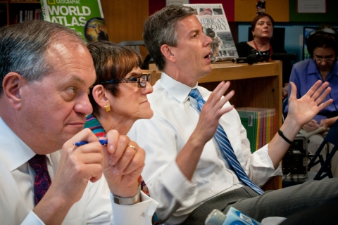From left: Mayor John DeStefano, Representative Rosa DeLauro, and U.S. Education Secretary Arne Duncan participate in a round table discussion on education reform at Jepson School in New Haven, Conn., on May 29, 2012.