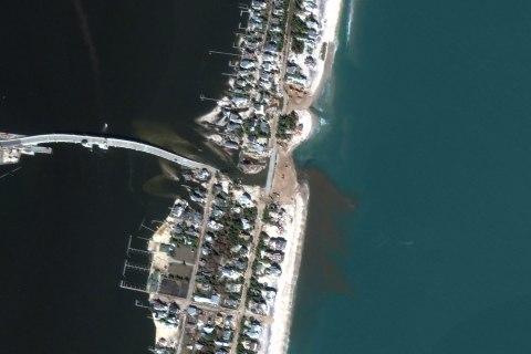 Satellite Image of Hurricane Sandy, Mantoloking Beach, New Jersey, United States