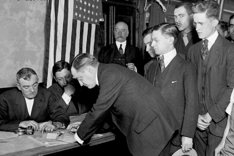Young_men_registering_for_military_conscription,_New_York_City,_June_5,_1917