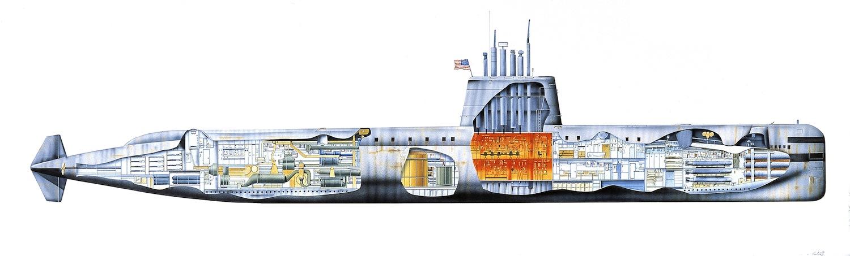 United States Navy nuclear submarine USS Nautilus, 1954, cutaway, illustration