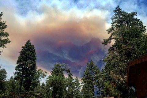Smoke from the wildfire rises near Idyllwild, Calif., on July 17, 2013.