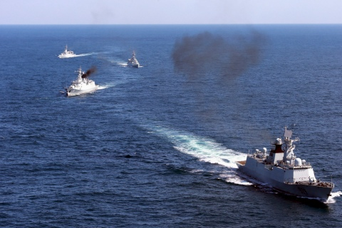 Vessels roam the waters of East China Sea during a naval drill