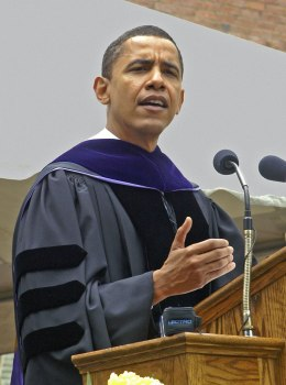 U.S. President Barack Obama delivers the commencement address at Knox College in Galesburg, Ill., on June 4, 2005.