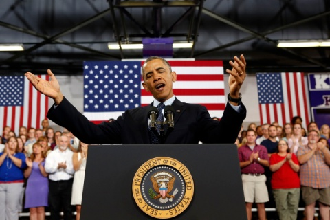 U.S. President Barack Obama speaks about the economy in Illinois