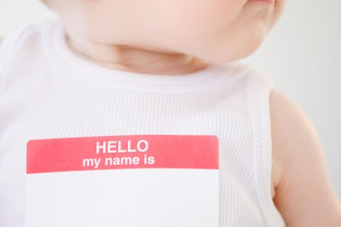 Baby wearing name tag