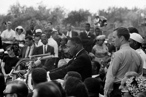 """Martin Luther King Jr. begins his historic """"I Have a Dream"""" speech reading from his prepared texts."""