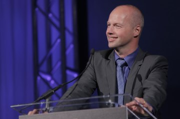 Sebastian Thrun speaks after receiving Smithsonian Magazine's first annual American Ingenuity Award for education in Washington, D.C., on Nov. 28, 2012.
