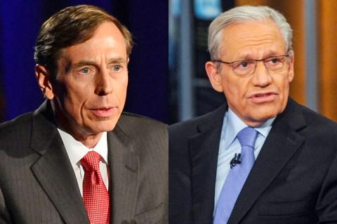 From left: David Petraeus, Bob Woodward.