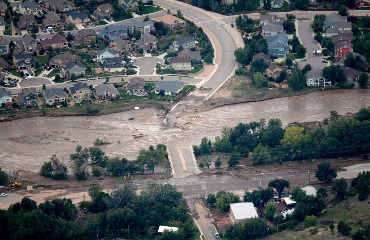 An aerial photograph shows the damage in Lyons, Colo. from the flood, Sept. 13, 2013. Massive flooding continues to hit Colorado.