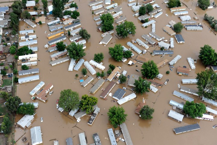 Flood water in a trailer park off of 37th street in Evans, Colo., on Sept. 16, 2013.