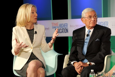 President of the University of Pennsylvania Amy Gutmann and Founder of The Broad Foundations Eli Broad speak at the TIME Summit On Higher Education Day 2  at Time Warner Center on Sept. 20, 2013 in New York City.