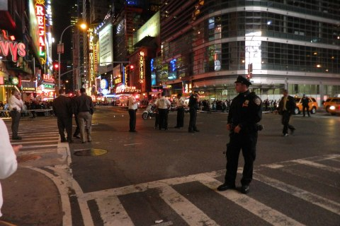 The corner of 42nd and 8th after a shooting near Times Square, New York, Sept. 14, 2013.