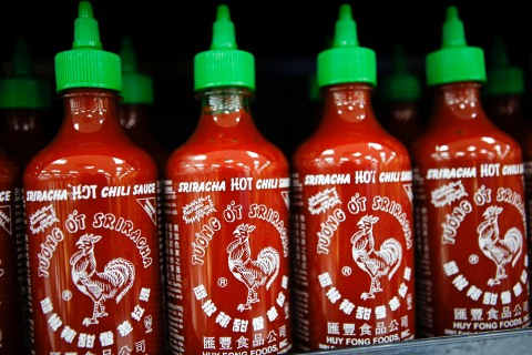 Sriracha sauce from Huy Fong Foods at a Wal-Mart in the Chinatown neighborhood of Los Angeles, on Sept. 19, 2013.