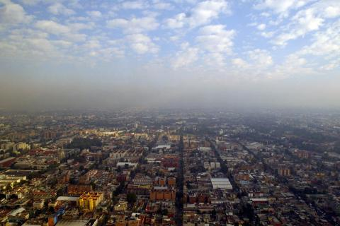 An aerial view of smog over Mexico City, on Feb. 7, 2007.