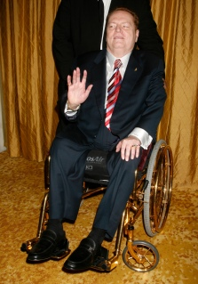 Publisher Larry Flynt arrives at the American Civil Liberties Union Bill of Rights dinner in Beverly Hills
